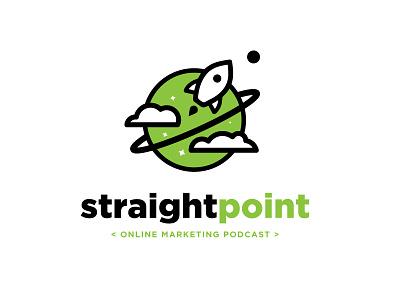 Straight Point Podcast Logo ship planet flat marketing online illustration vector logo