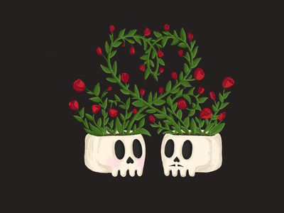 Rosie Skulls plants hearts love halloween roses skulls procreate app procreate design illustration