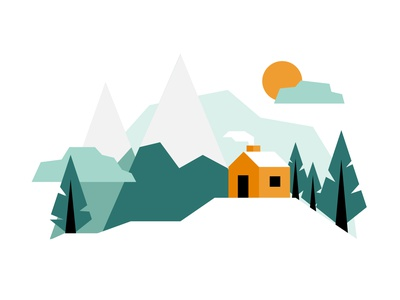 Cozy Cabin chimney smoke snow tree mountains cabin cozy winter web icon flat design vector illustration