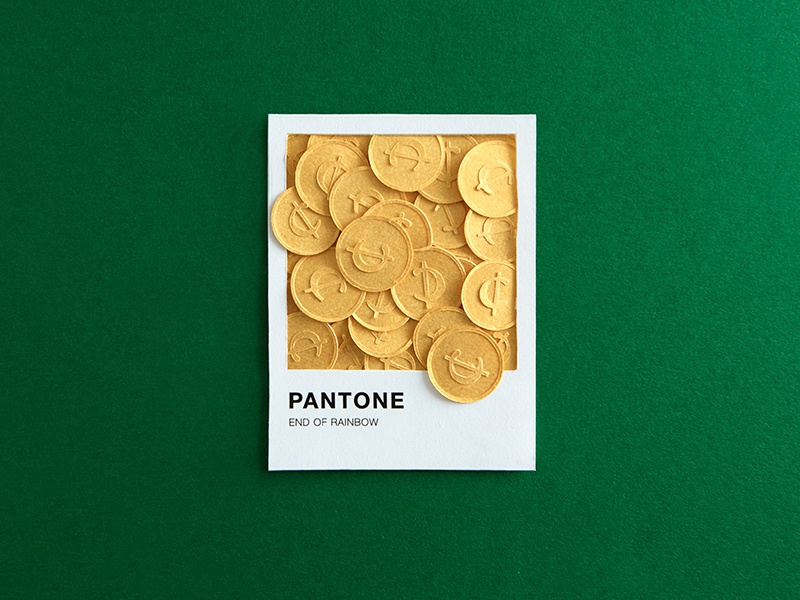 Lucky Day paper craft luck stpaddys pantone assets coupon coins gold clover stpatrick