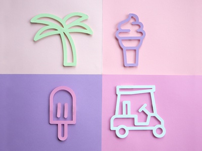 Miami Vibes ice cream popsicle palm pink miami branding sidecar stroked icons line work iconography icon set paper craft paper icons