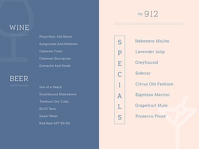 Drank Menu. custom type cocktail wine beer drink icons icon exploration menu typography font