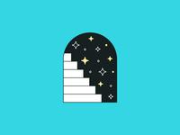 ⬆️✨ stars illustration minimal stairway sparkles climb stairs