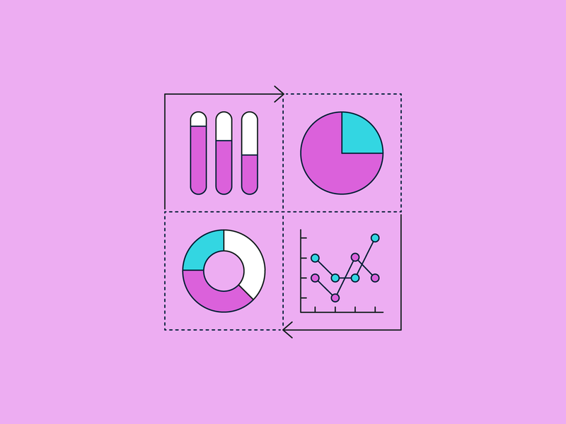📈 ➡️ minimal illustration social arrow line graph pie chart graph data chart