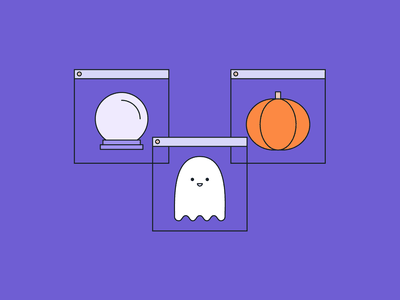 🔮 👻 🎃 dribbbleweeklywarmup minimal social media social pumpkin ghost crystal ball halloween