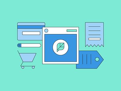 💳 🧾 🛒 shopping cart shopping tag credit card credit receipt commerce social commerce social social media illustration