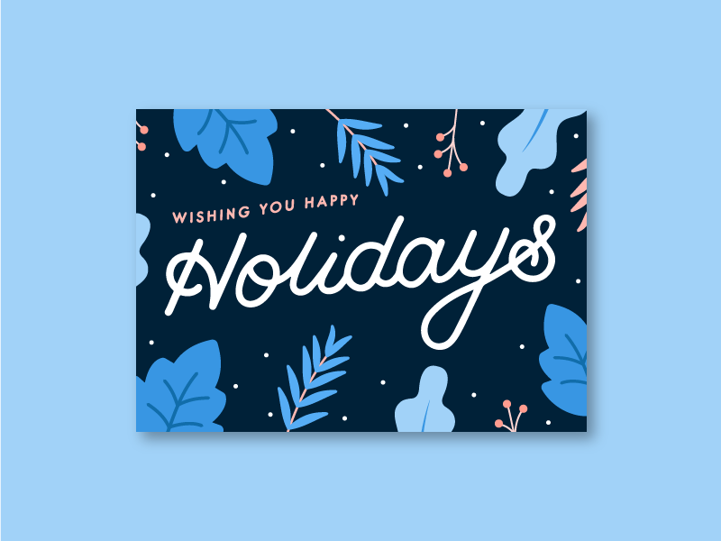 🎄✨ custom type handtype illustration floral christmas card christmas holiday card holiday