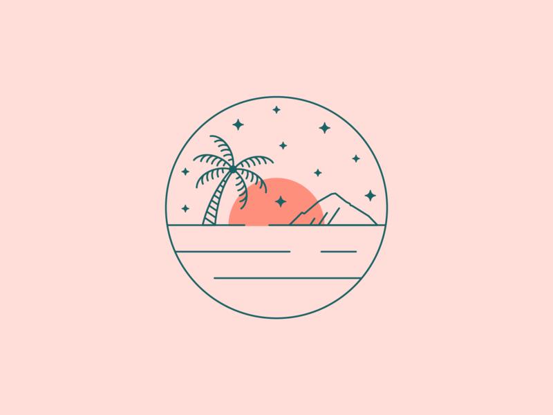 ☁️ 🏝 mountains sunset palm tree beach maui hawaii flat illustration