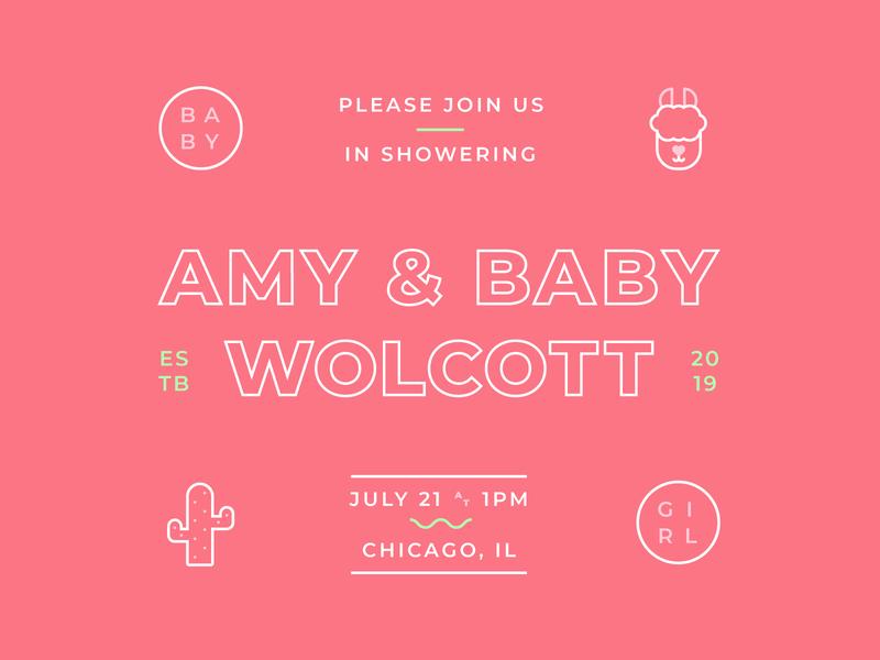 🍼 💌 minimal baby girl cactus llama flat party baby shower baby invitation invite