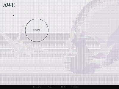 Landing Page - AWE Experiments portfolio interactive design ui ux three.js threejs ascii art shaders cursor interaction interactive interaction design