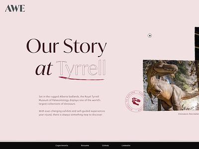 Drumheller Concept - AWE Experiments react svg gsap web design and development web development web design web ui concept design concept royal tyrell museum dinosaur
