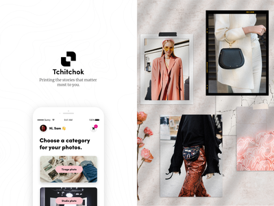 Tchiktchok printmaking photo printing branding illustration design minimalist ux ui app