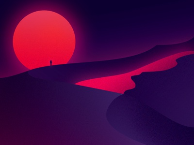 Night of gods vector art graphic minimalist warm night color flame space illustration neon desert