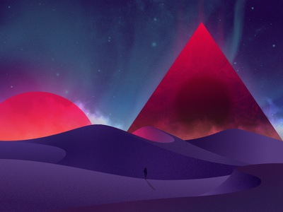 Pyramid vortex vortex pyramid desert neon illustration color night warm minimalist graphic art vector
