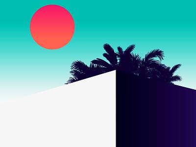 Penthouse illustration color architecture building minimalist graphic palm sun light penthouse illustration