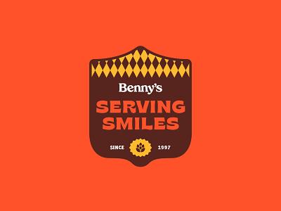 Serving Smiles label lockup badge pub ireland irish beer pint cheers logo type typography branding design vector illustrator illustration