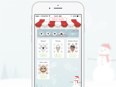 Winter Smiley Shop awning theme shop kik smiley winter christmas snowman snow december bear