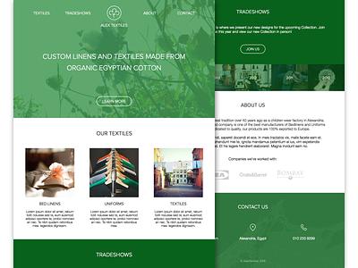 AlexTextile website cotton clothing map egypt branding green flat clean homepage minimal logo