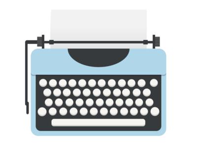 Typewriter type typewriter illustration vector minimal flat simple blue paper keyboard keys