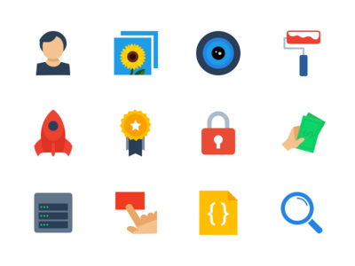 Developer Site Icons icon flat profile camera rocket ribbon paint mini developers minimal simple vector