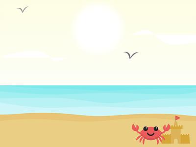 Summer illustration beach clouds background birds sun illustration castle sand water waves crab summer