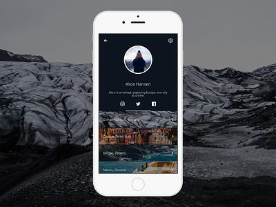 Travel Journal - Profile journal travel landing icon image clean minimal daily ui illustration mobile dailyui