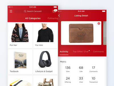 Carousell Redesign offer activity carousel card mobile home graph metric list shop ecommerce feed