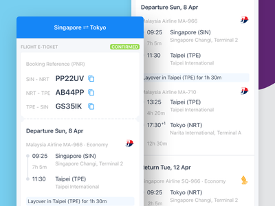 Multi PNR - flight itinerary card list itinerary business ticket airline journey flight booking flight mobile travel