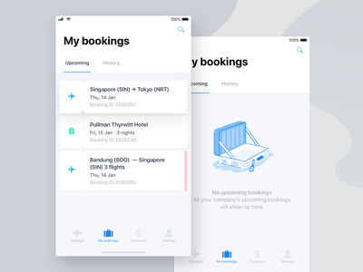 My Bookings illustration empty trip business hotel flight bookings mobile travel