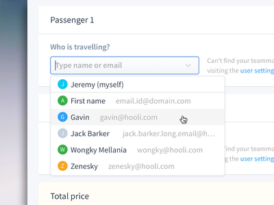 Searchable Dropdown checkout form flight booking checkout flight search searchable dropdown table dashboard clean feed travel card flat web