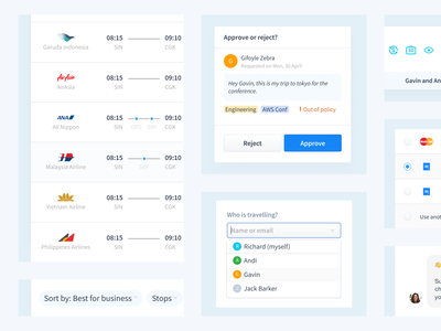 Travel UI Components filter creditcard payment web flat radiobutton dropdown timeline airline tags button approval hotel flight system design travel