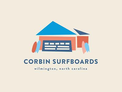 Corbin Surfboards surfing branding logo surfboard surf illustrator garage illustration surfboards