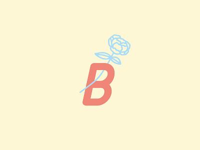 B submark brand logo drawing roses peony flower letters rose