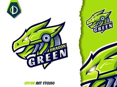 green dragon logo design logotype gaming esport modern green dragon 3d motion graphics graphic design ui vector design logo logodesign illustrator illustration branding brand identity animation