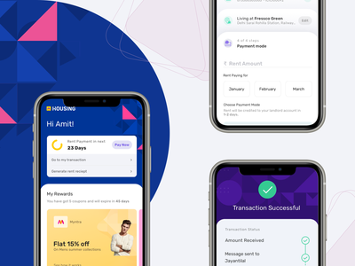 Housing Rent-pay app screen payment app sucessscreen dashboard ui landing page visual design experience clean design illustration illustrations design clean app ui