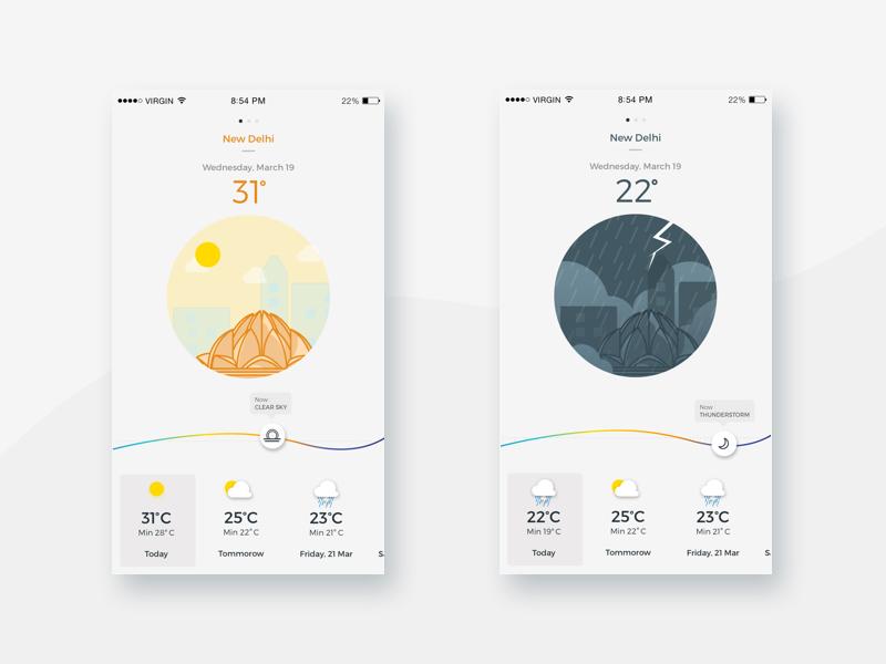 Weather App weather uiux travel tourism search news mobile minimal interface flat illustration clean app