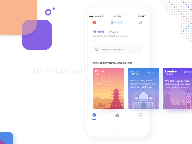 Trip Planner Homepage by Amit Chakravorty on Dribbble