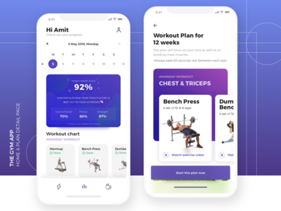 The gym app - home & plan detail page