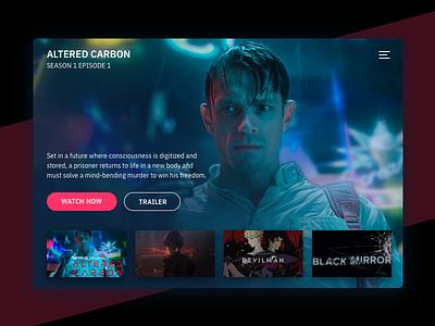 TV App - Day 025 025 day video web dark streaming dailyui app tv