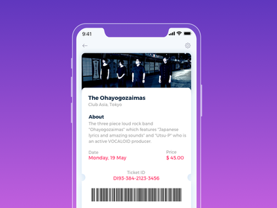 Event Listing ticket band color dailyui listing event