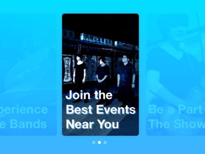 Image Slider event show blue cards card app bands live slider image dailyui