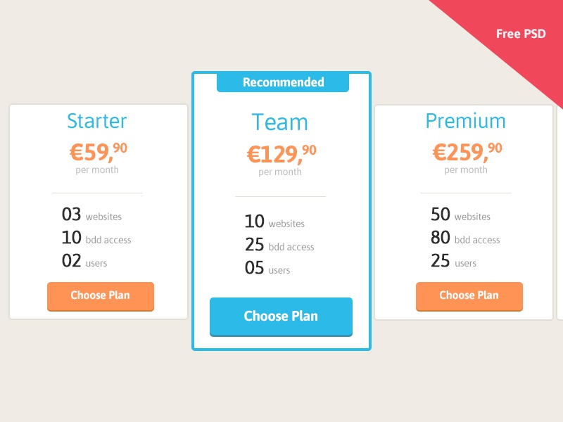 Pricing table, free PSD pricing table psd freebie flatdesign flat