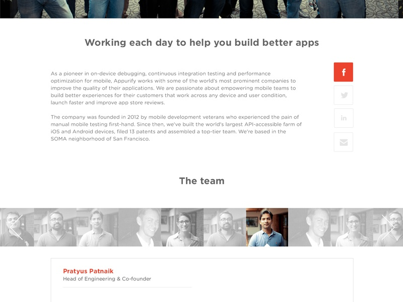 Appurify.com (About) appurify ios website about team social