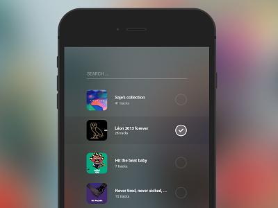 Add to playlists flat ios app mobile bitzik