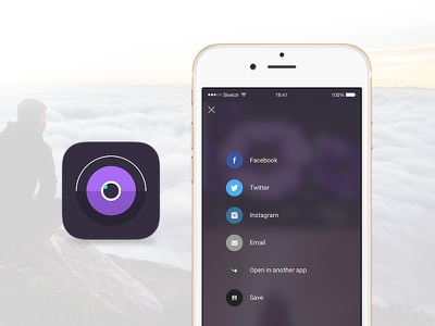 Photo Mobile App - Icon & share screen mobile app photo share icon ios apple iphone flat
