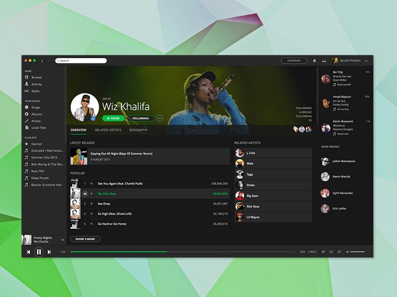 Free Sketch Spotify App Design freebie dark songs tracks playlist mac app music spotify sketch free