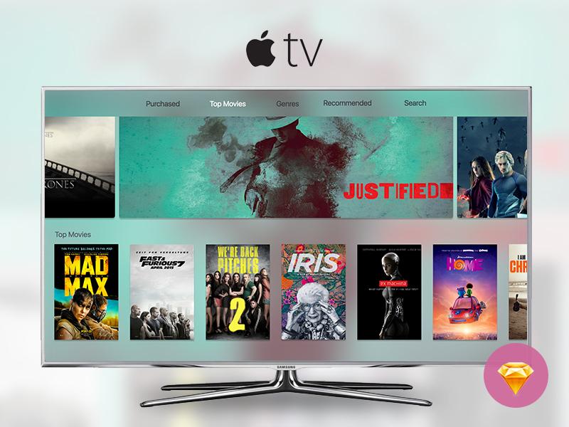 Apple tv 2015 - Free Sketch ressource free freebie sketch tv apple