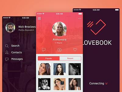 Love Book app app ios ui social flat iphone profile menu love logo ios7