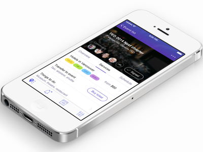 Event app  ui app iphone ios7 clean social event search mobile booking user interface