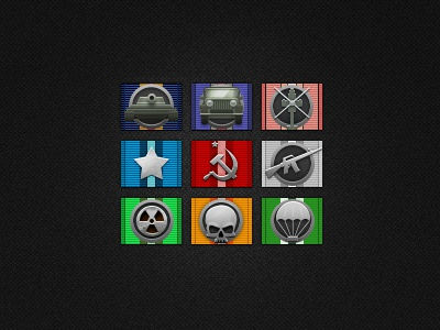Game badges icons badges tags awards achievements tank jeep m16 star soviet skull helicopter game